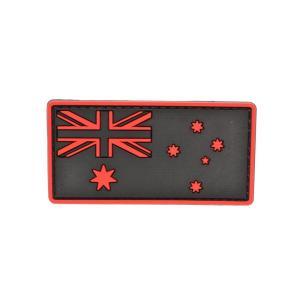 PVC製 オーストラリア国旗 ミリタリー ワッペン パッチ サバゲー ベルクロ付 赤色|million