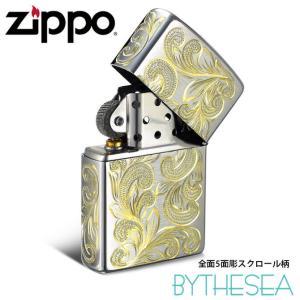 ハワイアンジュエリー メンズ Zippo ジッポ ジッポー ライター 全面5面彫り クロムサテーナ スクロール柄 fl101c /送料無料|millionbell