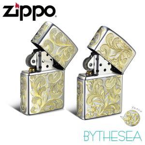 ハワイアンジュエリー ペア Zippo ジッポ ジッポー ライター 全面5面彫り スクロール&プルメリア柄 ペア価格 fl101c-fl102cp /送料無料|millionbell