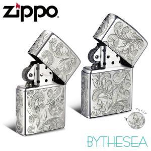 ハワイアンジュエリー ペア Zippo ジッポ ジッポー ライター 全面5面彫り シルバー925 スクロール&プルメリア柄 ペア価格 fl101s-fl102sp /送料無料|millionbell