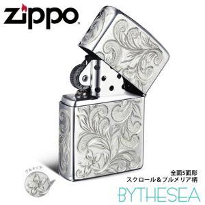 ハワイアンジュエリー メンズ Zippo ジッポ ジッポー ライター 全面5面彫り シルバー925 スクロール&プルメリア柄 fl102s /送料無料|millionbell