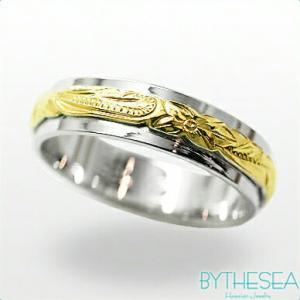 ハワイアンジュエリー オーダーメイドリング 刻印無料 誕生石 名入れ 結婚指輪 マリッジリング 2プレート5mm K14ホワイトゴールドリング gr-5w-3 /送料無料|millionbell
