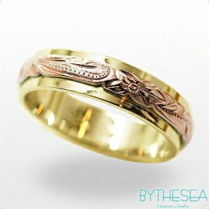 ハワイアンジュエリー オーダーメイドリング 刻印無料 誕生石 名入れ 結婚指輪 マリッジリング 2プレート5mm K14イエローゴールドリング gr-5y-3 /送料無料|millionbell
