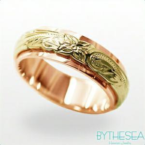 ハワイアンジュエリー オーダーメイドリング 結婚指輪 刻印無料 誕生石 名入れ K14ピンクゴールドリング 2プレート6mm  gr-6p-4 /送料無料|millionbell