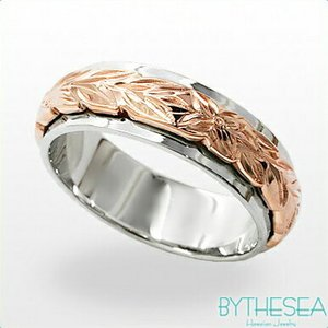ハワイアンジュエリー オーダーメイドリング 結婚指輪 刻印無料 誕生石 名入れ K14ホワイトゴールドリング 2プレート6mm  gr-6w-4 /送料無料|millionbell