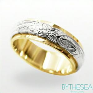 ハワイアンジュエリー オーダーメイドリング 結婚指輪 刻印無料 誕生石 名入れ K14イエローゴールドリング 2プレート6mm  gr-6y-4 /送料無料|millionbell