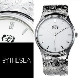 腕時計 ハワイアンジュエリー メンズ 刻印無料 送料無料 誕生石 ハワイアン彫り スクロール&プルメリア柄 BY THE SEA SWB101 … millionbell