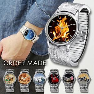 腕時計 ハワイアンジュエリー メンズ オーダーメイド 刻印無料 送料無料 誕生石 ハワイアン彫り スクロール&プルメリア柄 BY THE SEA SWB101-OR millionbell