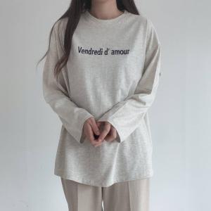 ロゴ刺繍T  ロンT  トップス ゆったり オーバーサイズ レディース 長袖 秋物|mimaca
