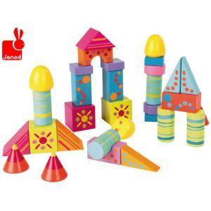 木製玩具 JANOD(ジャノー)マキシキューブカラー・50 筒入りつみ木/つみき/50ピース|mimiy