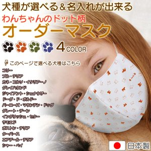 犬柄 マスク グッズ 犬のドット柄 日本製 名入れ 子供用 の 小さいサイズ から 大人用 まで選べる3サイズ nikuQ-order-dog03 犬種パターン2|mimus-shop