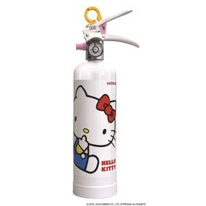 ハローキティー消火器 蓄圧式 強化液 1L 色:白リサイクルシール付 初田製作所製【消火器】|minakami119