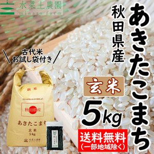 【玄米】 秋田県産 農家直送 あきたこまち 5kg 令和2年産 古代米(赤米or黒米)お試し袋付き