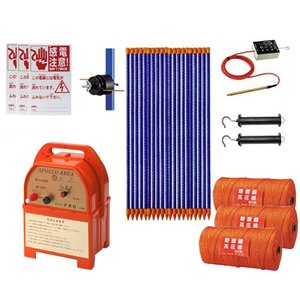 アポロ 電気柵 5反750m×2段張りセット (電池式/ヨリ線) [電柵 電気牧柵]|minatodenki