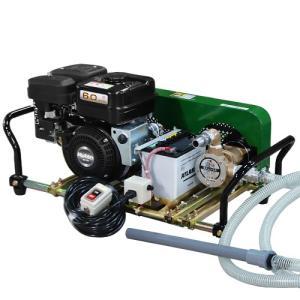 ミナト 1インチ バキュームポンプ ロビン6馬力セル付エンジン+電磁クラッチ+遠隔スイッチ付セット [ラバレックス エンジン式 海水用 排水用 汚水用]|minatodenki