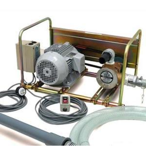 ミナト 1.5インチ バキュームポンプ 三相200V3Hp全閉モーター+10m遠隔スイッチ+吸込管4m付きセット [ラバレックス エンジン式 海水用 排水用 汚水用]|minatodenki