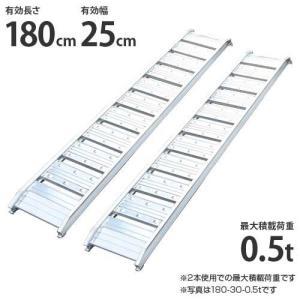 シンセイ アルミブリッジ 180-25-0.5t 2本セット (荷重0.5t/全長182cm/幅25cm) [アルミ製 道板 ラダーレール スロープ]|minatodenki