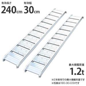 シンセイ アルミブリッジ 240-30-1.2t 2本セット (荷重1.2t/全長242cm/幅30cm) [アルミ製 道板 ラダーレール スロープ]|minatodenki