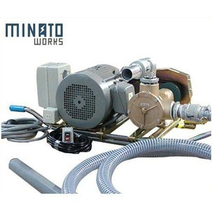 ミナト 2.5インチ バキュームポンプ 三相200V7.5Hpモーター+5mホース+遠隔スイッチ付セット [ラバレックス エンジン式 海水用 排水用 汚水用]|minatodenki