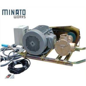 ミナト 2.5インチ バキュームポンプ 三相200V7.5Hpモーター+遠隔スイッチ付 [ラバレックス エンジン式 海水用 排水用 汚水用]|minatodenki