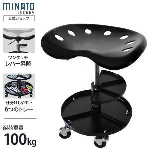 ミナト トレイ付きシートクリーパー STC-100A (工具トレイ+キャスター付き)|minatodenki