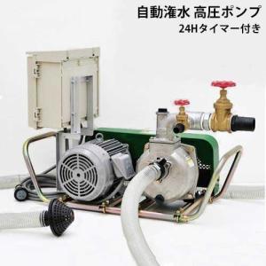 ミナト 高圧型 2インチ 自動灌水ポンプ 三相200V2.2Kw/3Hpモーター+24時間タイマー付きセット [大水量型 高揚程型 散水ポンプ 灌水ポンプ]|minatodenki
