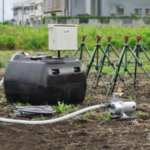 100V高圧灌水ポンプ+自立型制御盤+自動給水機能付き500Lタンク [スプリンクラー 散水機]|minatodenki