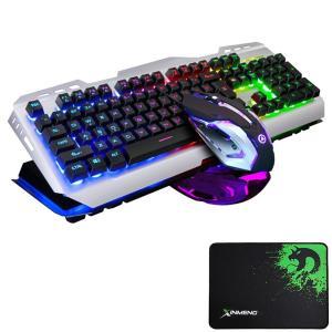 FELiCON  V1 ゲーミングキーボード マウス セット 反応性速い 複数キー同時押対応 有線 マウスパッド付 (ブラック&ミクス)|minatojapan-y02
