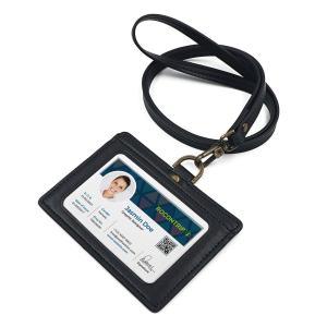 ネームホルダー 牛本革 IDカードホルダー リール付き 両面用 縦型 社員証・名札・定期入れ・パスケース ネックストラップ 2ポケット (黒)|minatojapan-y02