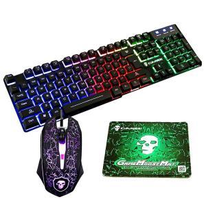 LexonTech 高耐久 LEDバックライトゲーミングキーボード USBメンブレン式 有線 防水多機能マルチメディアキー 2400DPI調整でき 6つのボタン + マウスパッド(ブ|minatojapan-y02