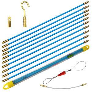 Aewio 通線 入線 呼線工具 ロッド ケーブル牽引具セット5m(50cmx10pcs) (全長さ5m ブルー)|minatojapan-y02