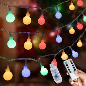 LEDストリングライト ガーランド 5M 50個LED 電飾 フェアリーライト 装飾ライト クリスマス ライト 防雨型 (レインボー/リモコンUSB式)|minatojapan-y02