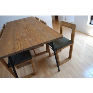 ダイニングテーブルセット プルートゥ 1800幅 (無垢材 一枚板仕様) チェア6脚 7点セット 6人 ダイニングテーブル アイアン アイアン脚 北欧 西海岸 おしゃれ|minatojimarocket