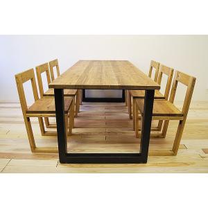 ダイニングテーブルセット モノリス 1800幅 (無垢材 一枚板仕様) チェア6脚 7点セット 6人 ダイニングテーブル アイアン アイアン脚 北欧 西海岸 おしゃれ|minatojimarocket