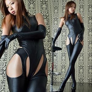 ボンテージスーツ コスチューム ブラック フリーサイズ 【送料無料】ctr-845