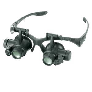ルーペ メガネタイプ 拡大鏡 LED付き 交換 レンズ3 タイプ 【送料無料】mmk-f27