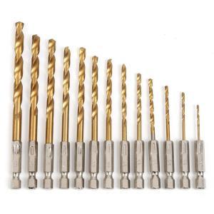 鉄工用 ドリル刃 六角軸 13本セット チタンコーティング 六角軸 鉄工用 ドリルセット 1.5mm...
