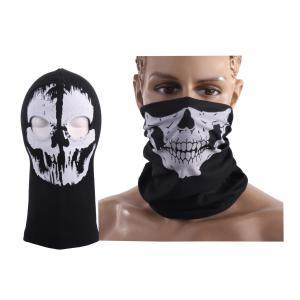 ・サバゲー スカル 目出し帽に、マスクをお付けしました。 セット内容:スカル目出し帽×1、スカルマス...