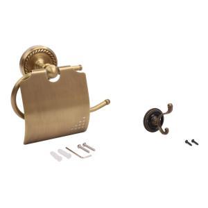・おしゃれ ブロンズ 真鍮製 トイレットペーパーホルダー 壁フック付          ・セット内容...