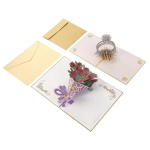 飛び出す 立体 ポップアップ メッセージカード 2種 ( バラの花束 / ダイヤの指輪 ) 封筒付 ...