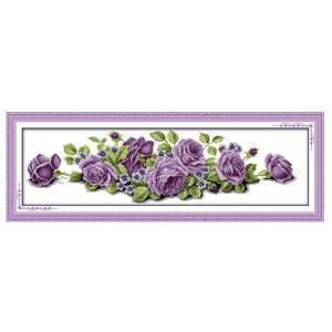 ・紫 バラ クロスステッチ 刺繍キット          ・セット内容:刺繍布11CT×1(350×...