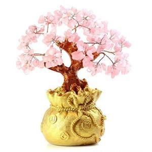 招財樹 金のなる木 壺型 水晶 風水 パワーストーン 商売繁盛 金運 装飾品 カラーが選べる ピンク...