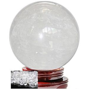 天然 白 水晶 50mm 玉 台座 + 天然水晶 さざれ石 ...