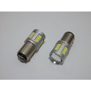 S25/BAZ15D(150°ピン角段違い/ダブル)Epistar 2835 LED/2個セット(純白ホワイト)|mine-shop