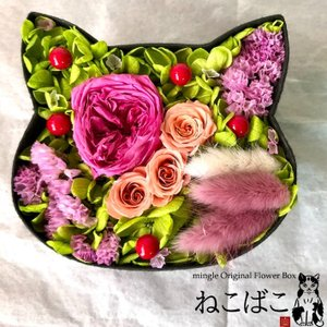 ねこばこ Olivia オリビア プリザーブドフラワー オリジナル 猫型 フラワーボックス 個性派 ギフト|mingle-h