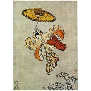 清水の舞台から飛び降りる美人 鈴木春信筆