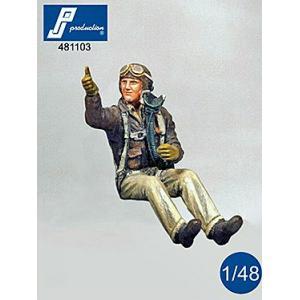 *アメリカ陸軍航空隊 戦闘機パイロット シートに座る WW2 USAF fighter pilot seated in a/c (WW2)  1/48|miniature-park