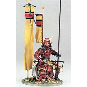 虎の敷物にすわる戦国武将 Mounted Samurai seated on tiger skin 90mm|miniature-park