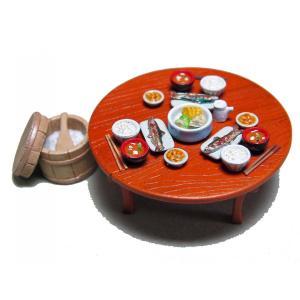 ちゃぶ台セット  Low dining table set  1/35【セール対象外】|miniature-park
