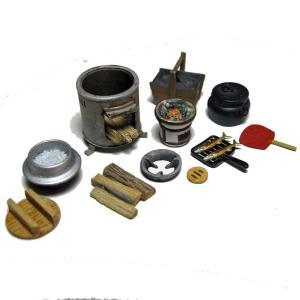 鉄かまど・七輪セット  Iron stove & Charcoal stove set  1/35【セール対象外】|miniature-park